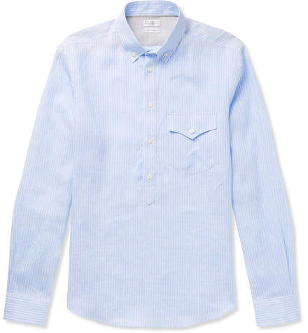 Brunello Cucinelli Button-Down Collar Striped Linen Half-Placket Shirt
