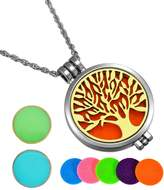 HooAMI Aromatherapy Essential Oil Diffuser Necklace Tree of Life Locket Pendant,5 Colorful Pads+2 Noctilucent Pads