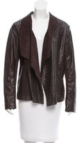 Neiman Marcus Perforated Open Front Jacket