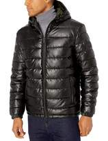 Cole Haan Men's Leather Faux Down Hooded Jacket with Contrast Lining