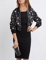 Charlotte Russe Satin Star Print Bomber Jacket