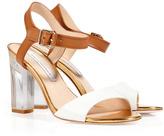 White/Brown/Platinum Leather Sandals with Clear Heel