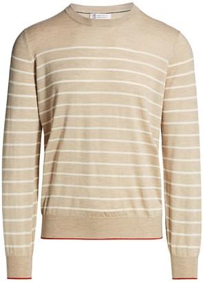 Brunello Cucinelli Stripe Silk & Cashmere Sweater