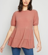 New Look Ribbed Double Peplum Top