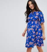 Asos Floral Trumpet Sleeve Mini Dress