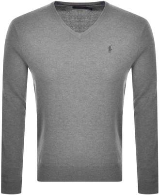 Ralph Lauren V Neck Wool Knit Jumper Grey