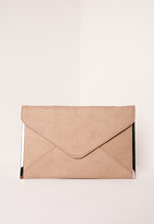Missguided Faux Suede Metal Edge Clutch Bag Nude