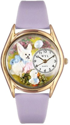 Whimsical Watches Easter Bunny Yellow Leather and Goldtone Unisex Quartz Watch with White Dial Analogue Display and Multicolour Leather Strap C-1220008