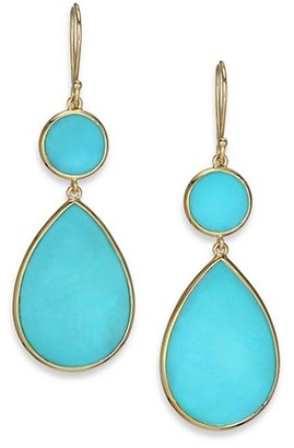 Ippolita Polished Rock Candy 18K Yellow Gold & Turquoise Snowman Double-Drop Earrings