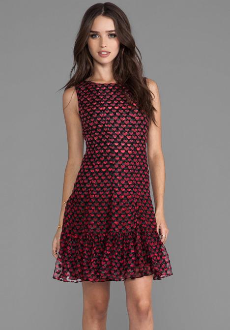 Anna Sui Ombre Hearts Print Dress