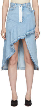 Off-White Blue Denim Ruffles Skirt