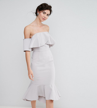 True Decadence Tall Exagerated Frill Bandeau Midi Dress With Peplum Hem-Grey