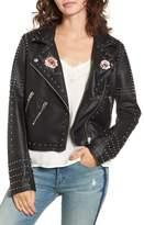 Blank NYC BLANKNYC Printed Studded Moto Jacket