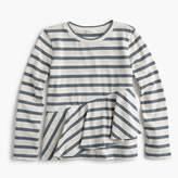 J.Crew Girls' ruffled long-sleeve T-shirt in stripes