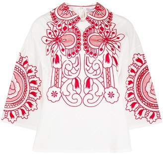 RED Valentino Floral Embroidery Shift Blouse