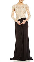 MGNY Madeline Gardner New York Beaded Embroidery Matte Jersey Gown
