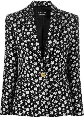 Boutique Moschino Long-Sleeve Clover-Print Blazer