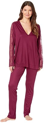 La Perla Bianca Long Pajama Set (Soft White) Women's Pajama Sets