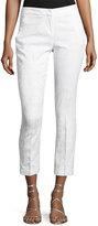 Neiman Marcus Jacquard-Print Knit Ankle Pants, White