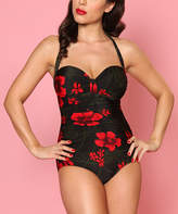 Bettie Page Black & Red Hibiscus One-Piece - Plus Too