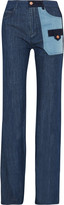 See by Chloe Patchwork high-rise flared jeans