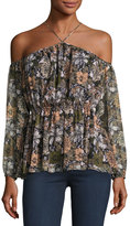 Romeo & Juliet Couture Off-the-Shoulder Floral-Print Blouse, Olive