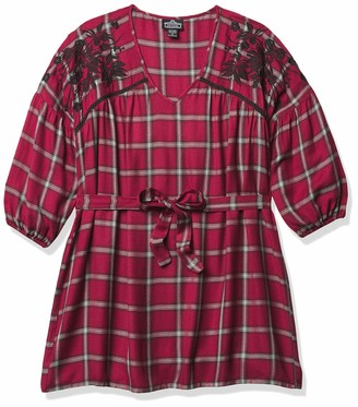 Angie Women's Long Sleeve Plaid Dress