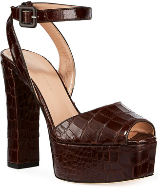 Giuseppe Zanotti Croc-Embossed Leather Platform Sandals
