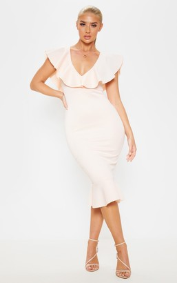 Panache Blush Plunge Frill Detail Scuba Midi Dress