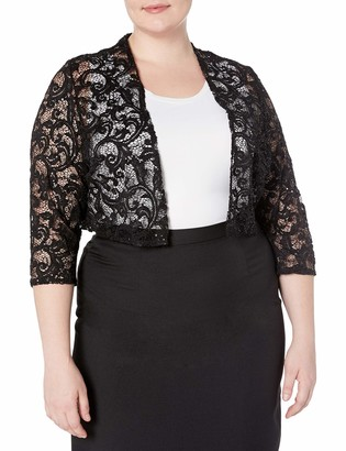R & M Richards R&M Richards Women's 1 Piece Plus Size Laced Shrug with Glitter