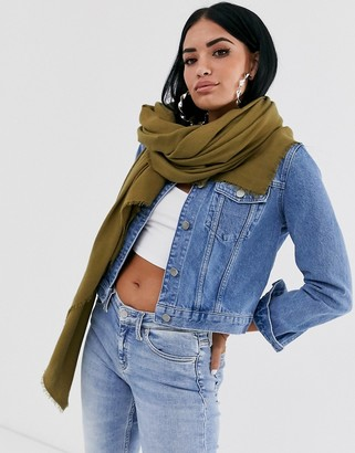 Asos Design DESIGN lightweight recycled polyester scarf in khaki