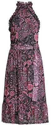 MICHAEL Michael Kors Paisley Ruffle Midi Dress