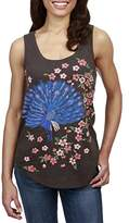 Lucky Brand Women's Embroidered Peacock Tank Top