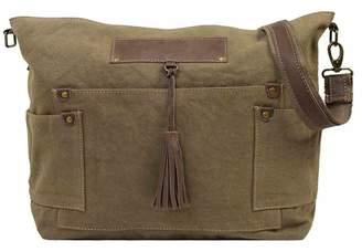 Vintage Addiction Olive Green Canvas Crossbody Bag