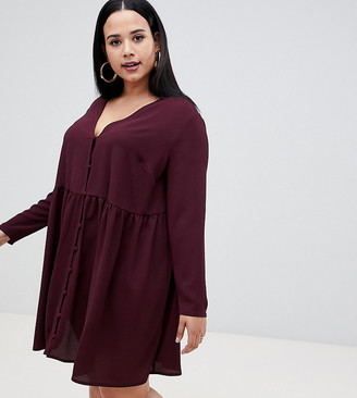 ASOS DESIGN Curve smock mini dress with button through