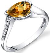 Ice 1 CT TW Citrine 14K White Gold Teardrop Cocktail Ring with Diamond Accents