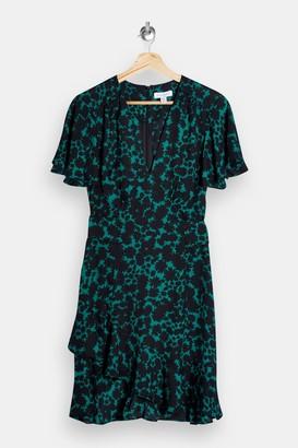 Topshop Womens Green Splodge Print V Neck Tea Mini Dress - Green