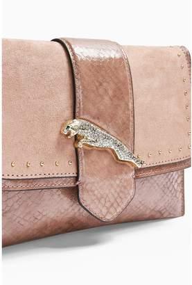 Topshop Leopard Clutch Bag - Nude