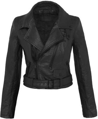 Altiir Women's Neo-Classic Biker Jacket In Black