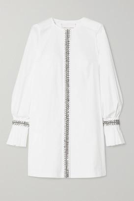 Carolina Herrera Crystal-embellished Cotton-blend Poplin Mini Dress - White