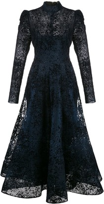 Christian Siriano High-Neck Lace Dress