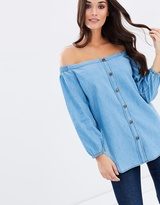 Jag Chambray Off-The-Shoulder Top