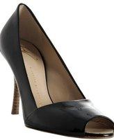 black patent peep-toe pumps