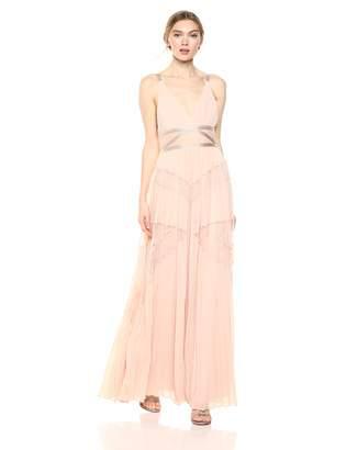 BCBGMAXAZRIA Azria Women's Sleeveless Lace Inset Pleated Gown