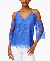 Bar III Strappy Lace Off-The-Shoulder Top, Only at Macy's