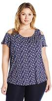 Lucky Brand Women's Plus Size Printed Cold Shoulder Top