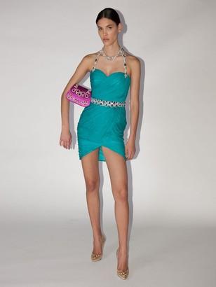 Moschino CRYSTAL EMBELLISHED SILK CHIFFON DRESS