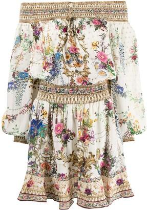 Camilla Off-Shoulder Floral-Baroque Print Silk Dress