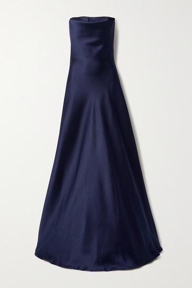 Reem Acra Strapless Mikado-pique Gown - Navy