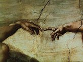 Michelangelo 1art1 Posters Buonarroti Poster Art Print - Creazione Di Adamo (32 x 24 inches)